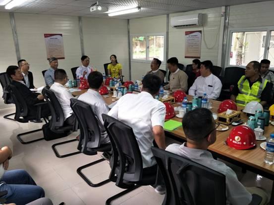 中华人民共和国驻缅甸联邦共和国大使陈海、缅甸宗教文化部部长Thura U Aung Ko莅临中国援缅甸国家艺术剧院维修改造